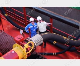 Cargo loading of a tanker with petroleum based products; FHD hose assembly with new longitudinal stripe to avoid torsion